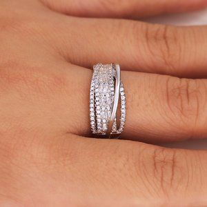 NEW 925 Sterling Silver Diamond Wave Infinity Ring